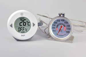 digital probe and analog oven thermometers for baking polymer clay