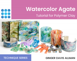 watercolor agate tutorial for polymer clay cover